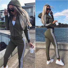 Wholesale New Sport Hoodies - New Women Active Set Tracksuits Hoodies Sweatshirt +Pant Running Sport Track Suits 2 Pieces Jogging Sets New Women's Sports Casual Suit