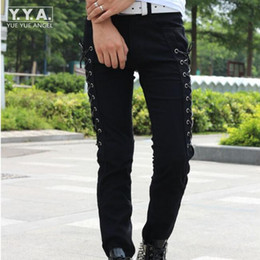 Wholesale Korean Style For Summer - Wholesale- Fashion Summer Korean Style Slim Fit Mens Pants Full Length Male Trousers Personality Skinny Lace Up Pants For Men Free Shipping