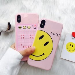 Caso do iphone smiley on-line-Para iphonex 8 8 plus smiley suave rosa silicone case para iphone 7 6 6 s 7 plus tpu capa mole para meninas