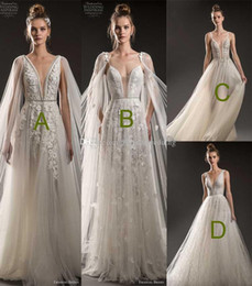 Wholesale Thigh High Models - 4 models heavily embellished bodice sheer cape wedding dresses 2018 emanuel brides bridal deep plunging v neck a line open v backless