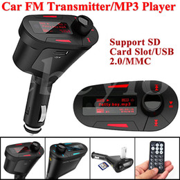 Wholesale 12v Wireless Remote Kit - New Car Kit MP3 Player Wireless FM Transmitter Modulator wma wireless USB SD MMC LCD With Remote Blue red Light