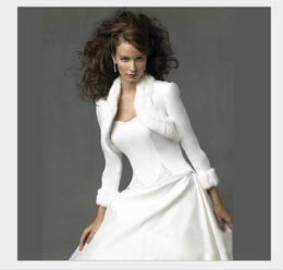 Wholesale White Faux Fur Coats - White Short Soft Full Faux Fur Bridal Coats Hot Sale Long Sleeve Winter Warm Shrug Bolero Women Wraps Jacket For Prom Party