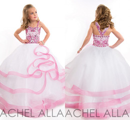 Wholesale Cute Lovely Beautiful Girls - Beautiful Ball gown Cute Little Girls Pageant Dresses with Colorful Rhinestone Tulle Floor length Lovely Flower Girls Dresses Hot sale