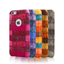 Wholesale Iphone Crocodile Leather - For iPhone 7 6S Fashion Crocodile Pattern Protective Phone Case Colorful Business Soft Case Retail Bag Free Shipping