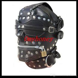 Wholesale Locking Hood Leather - New Bondage Luxury Full Leather Bondage Hood   Gimp Mask with Blindfold & Locking Mouth Zip, SM444
