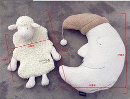 Wholesale Japanese Hot Baby Doll - LilyToyFirm New Arrive Moon Shape Pillow Cute Soft Sheep Hot Water Bottle Case Kids Toys Baby Doll Best Gift For Girlfriend Japanese Style