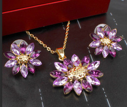 Wholesale Big Wedding Crystals Necklaces - Best Seller Big Flower Pendant Wedding Set 18K Gold Plated Austrian Crystal Necklace Earrings Jewelry Set For Women Bridal