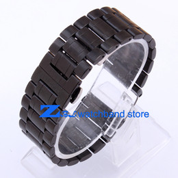 Wholesale 28mm Buttons - High Quality Stainless steel Watchband Double click the butterfly steel buckle black width 18mm 20mm  22mm 24mm 26mm 28mm 30mm