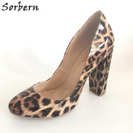 Wholesale Leopard Chunky Heels - Leopard Shiny PU Dress Shoes Slip-on Heeled Chunky Heels Round Toe High Heel Women Pumps Plus Size 33-46 Custom Color Ladies Shoes