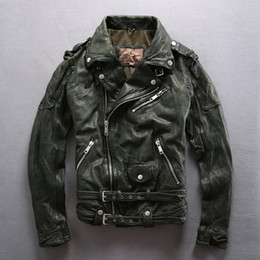 Wholesale Tan Leather Jacket Men - AVIREXFLY Vegetable-tanned goatskin leather jacket men's oblique zipper coats with lapel and double belt mens motorcycle clothing