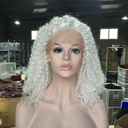 Wholesale Curly Wigs For White Women - Fast Shipping Heat Resistant Synthetic Wigs White Afro Kinky Curly Lace Front Wig Gluelese Synthetic Lace Front Wigs for black women
