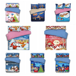 Wholesale cartoon bedding queen - 15 Styles Christmas Bedding Sets Cartoon Santa Claus Reindeer Duvet Covers for King Size Bedding Duvet Cover Pillow Cover Gift CCA7976 5set