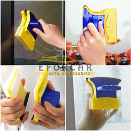 Wholesale Glass Cleaning Scraper - New Magnetic Useful Double-sided Window Glass Cleaner Wiper Scraper Brush Cleaning Tools Kitchen Bathroom Surface Brushes
