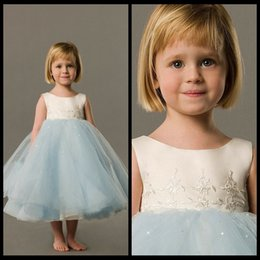 Wholesale Teal Girls Dresses - Cute Baby Teal Length A-line Wedding Party Flower Girls Dresses Tulle Scoop Neckline Beaded A-line Long vestido daminha casamento