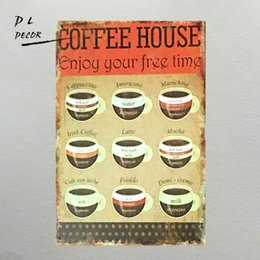 Wholesale Modern Cm - DL-Coffee House Metal Sign 30x20 cm Nostalgic Art shabby chic home decoration accessories coffee bar sign