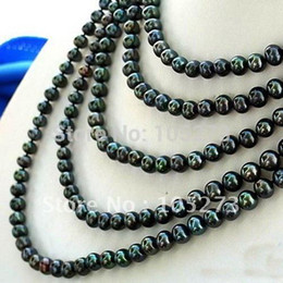 Wholesale Black Freshwater Pearl Jewellery - Wholesale-100'Inch Long Pearl Necklace AA 7-8MM Black Natural Freshwater Pearl Necklace Fashion Women's Jewellery New Free Shipping