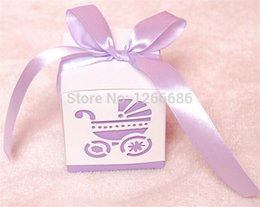 Wholesale Pink Favour Bags - Free shipping 100pcs Baby's Day Pink Carriage Laser-Cut Candy Boxes Wedding Party Gift Favour Bags Holders baby shower decoration
