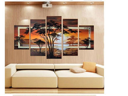 Wholesale African Canvas Wall Painting - The African Impression ! 100% Handmade Modern Landscape Oil Painting On Canvas Wall Art ,Top Home Decoration JYJLV243