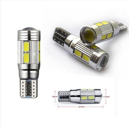 Wholesale Pink Hid Bulbs - 100PCS T10 501 CANBUS 6SMD 10SMD W5W CAR SIDE LIGHT BULBS ERROR FREE LED XENON HID WHITE wholesale