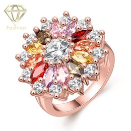 Wholesale Girls Rings Low Price - Rose Gold Ring Low Price Colorful Austrian Crystal Rose Gold Plated Flower Rings Jewelry for Women Girls Party Wedding Best Friends Gift