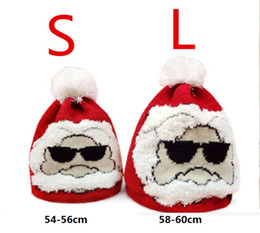 Wholesale Santa Hat Beanie - Christmas hat Adult children's parent-child jacquard knitting Santa hats knit caps Beanie Knitted Hats for Winter Warm girl boy woman men