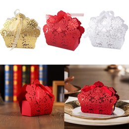 Wholesale Red Ribbon Supplies Wholesale - 50Pcs Laser Cut Hollow Candy Box Wedding Party Supply Favor Gift Box With Ribbon Red White Golden