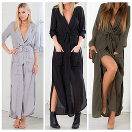 Wholesale Sexy Kimono Deep V - Sexy Beach Wear Black Long Sleeve High Split Maxi Dress Deep V Neck Long Chiffion Beach Party Dress with Belt Plus Size Casual Vestidos XXL