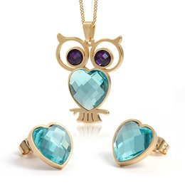 Wholesale Stainless Steel Earring Owl - New Arrival Pop Style One Set Gold Stainless Steel Deep purple Blue opals stone vivid owl Necklace Pendant & Hearts Earring