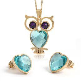 Conjunto de collar de piedra púrpura online-Nueva Llegada Pop Style One Set Oro Acero Inoxidable Deep purple Azul ópalos piedra búho vivo Collar Colgante Corazones Pendiente