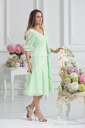 Wholesale Summer Long Pants For Woman - Short Mother Of The Bride Mint Kne-length Mother Dresses For Wedding Guest Pant Suit Green Chiffon 3 4 Sleeve Long Evening Dresses For Woman