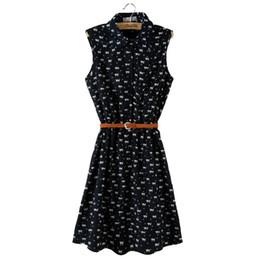 Wholesale Thin Knee Length Dress - Promotion Summer Dress 2017 New Women Sleeveless Dresses Cat Turn-down Collar Footprints Pattern Thin Dress With Belt vestidos