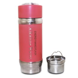 Wholesale Alkaline Water Flasks - ALKALINE HYDROGEN Negative ION WATER IONIZER Water Bottles Energy Nano Flask Cups Water Filter Water Ionizer Cup with Carry Bag