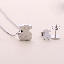 Wholesale China Steel Collar - New Joyas de acero inoxidable Stainless Steel 18k gold silver Cute Charms bears pendants Jewelry Necklace and earring set Collar de oso