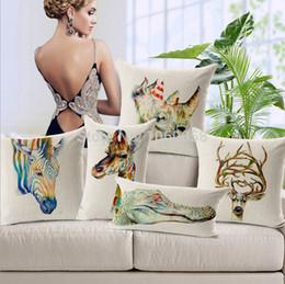 Wholesale Giraffe Lighting - Wholesale- Pillow Case Decorative Pillow Covers Elegan Animal Decorative Pillows Giraffe Crocodile Deer Sequin Throw Pillows Cotton Linen
