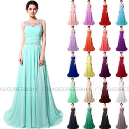 Wholesale Mint Chiffon Maternity Dress - CUSTOM MADE Long Pink Blue White Crystal Prom Party Dresses with Lace-up 2015 A-Line Crew Beaded Black Red Mint Formal Gown Dresses Cheap