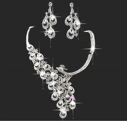 Wholesale Tow Pieces - Fashion New Arrival Free Shipping Alloy Necklace Earring Neck Romantic HOt Tow Pieces Crystals Wedding bridal Jewelry Set Dress Accessories