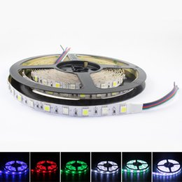 Wholesale Led Color Changing Strip - 12VDC 24VDC 16.4ft 5M 5050 300leds led strips rgbw rgb+white rgb+warm white color changing led strip lights black pcb or white pcb