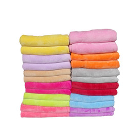 Wholesale Used Sofas - solid color flannel blanket 17 colors available 7 size supply bed sofa car beauty salon use