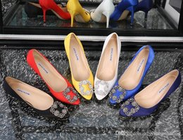 Wholesale Navy Blue Satin Pumps - 2017 new arrival satin bridal wedding shoes with crystals Slip-On high Stiletto heel pumps evening party prom shoes