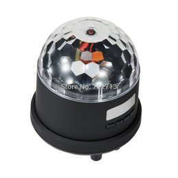 Wholesale Mp4 Digital Player Speaker - Wholesale-18W Sound Control Disco RBG 6LED Speaker FM Light Stage Party Lighting USB digital audio player support MP3 MP4 & PC Player