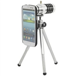 Wholesale Optical Zoom Galaxy S3 - For Samsung Galaxy S3 12X Optical Zoom Telescope Camera Lens+mini Tripod +Back Case Cover Phone 12X Zoom Lens