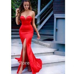 Wholesale Linen Ruffle Dress - Sexy Mermaid Prom Dresses With Slit 2016 Sweetheart Long Red Cheap Formal Gowns Evening Party Gowns