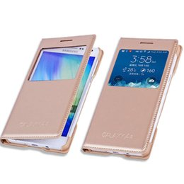 Wholesale Galaxy S4 Flip Cover Folio - For Samsung Galaxy S6 S5 S4 A8 A7 A5 A3 Note 5 4 3 Original Housing Flip Cover View Folio Smart Touch Case With Open Window Wakeup Sleep