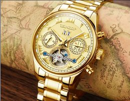 Wholesale Men Complete Designer - USA style Automatic mechanical gold watch for men new day week month steel clock charm luxury mens designer gift wrist watches name brand
