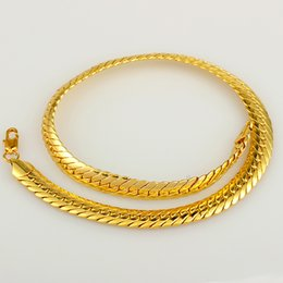 Wholesale Thick Cuban Chain - Wholesale-2015 new Heavy MENS 18K REAL GOLD FILLED CHAIN FINISH THICK CUBAN LINK NECKLACE HIP HOP STYLE N153