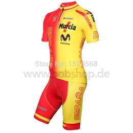 Wholesale SPANISH NATIONAL TEAM short sleeve cycling jersey and cycling bib shorts sets Spain ropa ciclismo Clothing Full Zipper