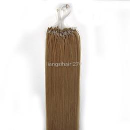 "Wholesale 27 Micro - Brazilian Remy Human Hair extensions 18"" 50g 100s 27# Dark Blonde Color Straight Peruvian Indian Malaysian Micro Rings Loop Hair Bundles"