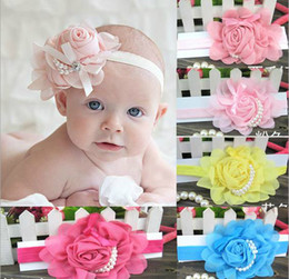 Wholesale Satin Roses Flowers - 30 PCS Stylish Baby Chiffon Pearl Beaded Headband Kids Rose Satin Bow Headdress Flower Infants Hairband Children Head Wear Photography Prop