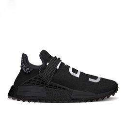 Wholesale R Medium - Authentic NMD Trail Human Race HU Pharrell NERD Black White Running Shoes Sneakers Y O U N E R D Sports Shoes Real Boost