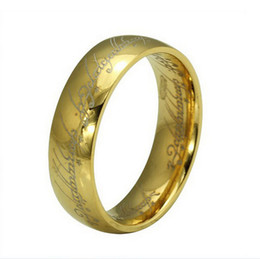 Wholesale Magic Men - Hot Selling Fashion Men Women'6mm Stainless Steel Lord Of The Rings Ring The Hobbit Gold One Rings Magic Rings Gift MR17
